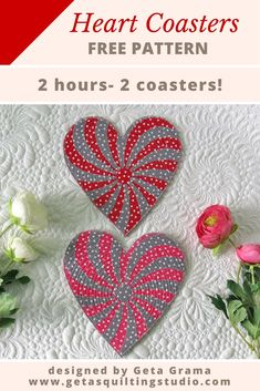 Free Heart Pattern for Coasters- learn how to sew 2 coasters in less than 2 hours. Click to download the free pattern. #freeheartpattern #heartcoasterpattern #heartquiltpattern via @getagrama