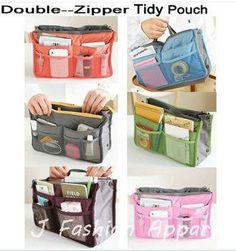 Men Women Inside Outside Dual Insert Storage Nylon Organizer Clutch Purse Handbag MP3 Phone Cosmetic Makeup Key Multi Bags  $5.38