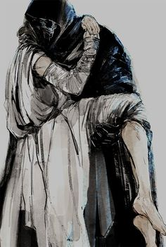 Rey and Kylo ren by soleil Noir via Twitter