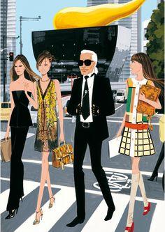 Modeconnect.com - Fashion Illustration by Jordi Labanda featuring Karl Lagerfeld
