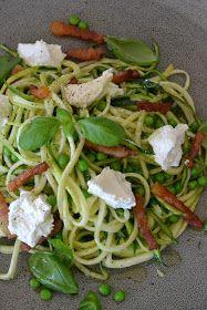 Eet lekker: Courgetti met erwtjes, ricotta, spek en basilicum Healthy Recipes, Healthy Meals, Healthy Food, Lunches, Paleo, Fruit, Ethnic Recipes, Snacks, Clean Eating