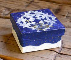 Snowflake Box 3x3 Christmas Decor Gift Box by annarobertsart