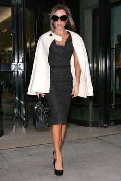 February 2008, Victoria Beckham in a classic chic outfit leaving the Royalton Hotel in New York City