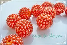 20mm Orange  Dark Orange Pearl Berry Chunky Bubblegum Beads Lot of 10