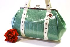Aqua Glitter Vinyl Purse with Your Choice of Contrast Vinyl, Rockabilly Bag, Seafoam, Mint Green - MADE TO ORDER