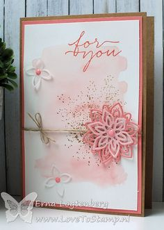 Love the pink! Making Greeting Cards, Friendship Cards, Stamping Up Cards, Tampons, Watercolor Cards, Sympathy Cards, Flower Cards, Cute Cards, Creative Cards