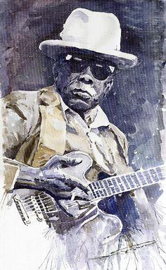 Bluesman John Lee Hooker 3 print of a watercolor by Yuriy  Shevchuk