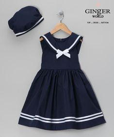 Take a look at this Jayne Copeland Navy Dress & Beret - Infant, Toddler & Girls on zulily today! Toddler Dress, Toddler Outfits, Baby Dress, Kids Outfits, Infant Toddler, Toddler Girls, Infant Girls, Dress Set, Baby Outfits