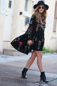 Embroidered Floral Boho Dress | Upbeat Soles | Orlando Florida Style Blog