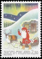 Christmas stamp, Finland, 1999, Joulupostimerkki 1999 Joulupukki ja reki