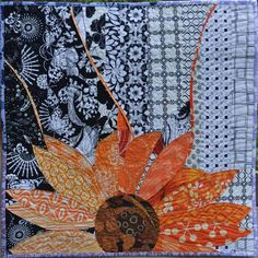 """Pressing Flowers in Newspaper, 25 x 25"""", by Carla Javornik.  Auction quilt, Rocky Mountain Quilt Museum benefit."""