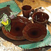 Floral Tooled Dinnerware Set - 16 pcs