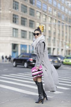 Camila Coelho on her way to Lacoste show in NYFW wearing a grey monochromatic…