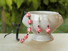 Red/Black mini origami star jewelry set Origami bracelet