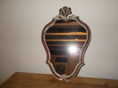Beautiful antique French Mirror, plaster on wood. 43cm x 29 cm £64