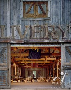 A livery barn in Clyde Park, Montana makes a rustic-chic setting for an equestrian wedding, line dancing party or other event..