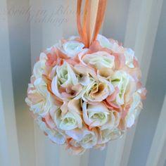 Wedding flower balls pomander white purple by BrideinBloomWeddings