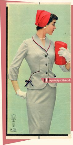 Model Patsy Shally in grey lightweight wool suit with red and black piping, Burda Moden, July Vintage Fashion 1950s, Fifties Fashion, Vintage Couture, Vintage Mode, Retro Fashion, Vintage Ladies, Victorian Fashion, Fashion Fashion, Vintage Style