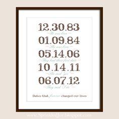 Les Dates importantes, dès la naissance, de rencontres, de mariage, votre histoire d'amour - ou histoire Dates de votre famille - 8 x 10 imp...