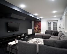 Media Room, Gorgeous Black And White Minimalist Media Room Color With U Shaped Grey Sofa And White Rug On Dark Wooden Floor Also Recessed Li...