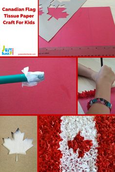 In honour of Canada day this is a fun and easy to do craft using red and white tissue paper to make a cool looking Canadian flag. Paper Crafts For Kids, Crafts To Do, Arts And Crafts, Canada Day Party, Canada 150, Craft Tutorials, Tissue Paper, Decoration, Cool Art