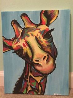 Make one special photo charms for your pets, compatible with your Pandora bracelets. Giraffe acrylic canvas painting : Created by Helen Khamis hkhamis 3 Canvas Paintings, Easy Canvas Painting, Acrylic Canvas, Animal Paintings, Painting & Drawing, Canvas Art, Canvas Ideas, Diy Painting, Simple Paintings