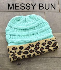 45361581 Mint Blue Leopard Sunshine & Rodeos Ponytail Beanie Ski Hat Knitted  Stretchy #fashion #