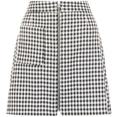 Black Gingham Check Single Pocket Zip Front Mini Skirt ($28) ❤ liked on Polyvore featuring skirts, mini skirts, a line skirt, holiday skirts, front zipper skirt, short skirts and zip front skirt