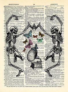 Dance Skeleton Butterfly Gramophone Art Print by PrintsVariete