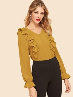 Casual Plain Top Regular Fit V neck Long Sleeve Flounce Sleeve Pullovers Red Regular Length Frill Trim Covered Button Top Blouse Styles, Blouse Designs, Hijab Fashion, Fashion Dresses, Plain Tops, Spring Shirts, Mode Hijab, Types Of Sleeves, Blouses For Women