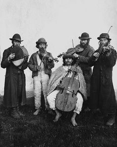 Village orchestra of Ruthenian and Jewish musicians  Verecke, Bereg County, 1895