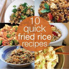 10 Simple Fried Rice Recipes for a Quick Dinner! We always have some rice eggs and soy sauce around the house. Adding different veggies and meats would be nice Side Recipes, Dinner Recipes, Dinner Ideas, I Love Food, Good Food, Yummy Food, Good Healthy Recipes, Amazing Recipes, Delicious Recipes