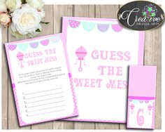 Baby Shower Pattern Baby Rattle Pink Candy Taste Dirty Diaper GUESS THE SWEET Mess, Paper Supplies, Digital Download - bsr01 #babyshowergames #babyshower