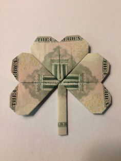 One Beautiful Handcrafted Money Origami SHAMROCK LEAF-Great Gift Idea-Made Of…