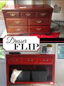 Two It Yourself: Thrifted Dresser to TV Stand/Buffet/Entryway Table. Pretty way to disguise laundry baskets