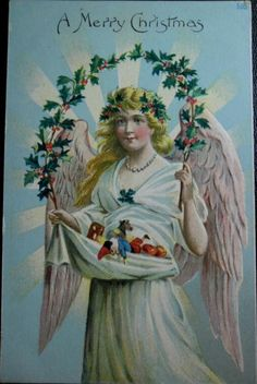 """A Merry Christmas """". Christmas angel,  Holly and toys"""