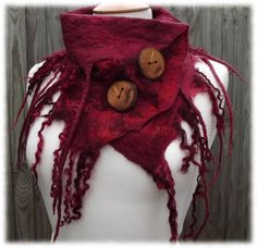 Dragons Blood Cowl  red rustic cowl  pixie scarf by folkowl, $70.00