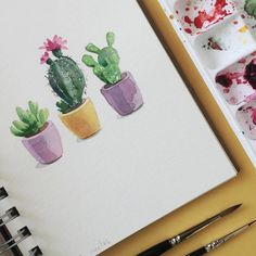 Cactus. Take two. Day 24/30 #cbdrawaday #watercolorart #watercolor…