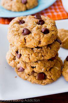 Flourless Peanut Butter Oatmeal Cookies | Sally's Baking Addiction Peanut Butter Oatmeal, Peanut Butter Cookies, Chocolate Chip Cookies, Oatmeal Cookies, Cookies Soft, Brownie Cookies, Almond Butter, Chocolate Chips, Coconut Sugar