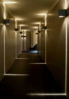 Visit the best interior lighting design projects. Home lighting design is always peculiar, at our house we want to make it as special as possible . Corridor Lighting, Sconce Lighting, Corridor Ideas, Stair Lighting, Linear Lighting, House Lighting, Hallway Ideas, Outdoor Lighting, Modern Lighting Design