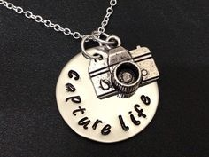 Capture Life  - Camera Charm - Washer Necklace-personalized necklace-Hand Stamped Jewelry by Ashijewelers on Etsy