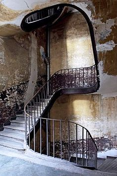 patina on beautifully shaped staircase