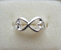 Infinity Hearts Silver Ring FREE Shipping! Size 5 5.5 6 6.5 7 7.5 8 Valentines