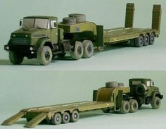KrAZ-6446 and ChMZAP-9990 Tractor Truck Paper Models Free Download