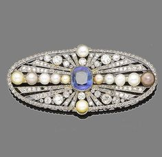A sapphire, pearl and diamond brooch, circa 1930  The pierced oval plaque centrally-set with a cushion-shaped sapphire within a radiating surround millegrain-set with old brilliant and rose-cut diamonds and graduated rows of pearls of white, pink, yellow and brown tints, diamonds approx. 1.20ct total, one diamond deficient, French assay mark, pearls untested for natural origin, length 6.1cm