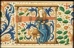 Medieval tablet weaving, no further info. Inkle Weaving, Inkle Loom, Card Weaving, Tablet Weaving, Medieval Life, Medieval Art, Medieval Manuscript, Illuminated Manuscript, Medieval Crafts
