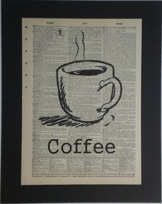 coffee cup vintage dictionary print book page art 800 via etsy