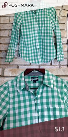 SOLD Gap Boyfriend Fit Button Down Gently loved cotton button down top. No holes or damage. Measures 24 inches. GAP Tops Button Down Shirts
