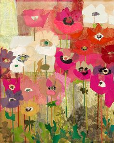 mixed media collage Anemones Mabel Minnich Miller