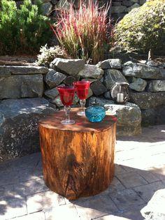 Tree stump patio side tables